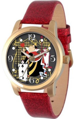 Disney Disney, Alice in Wonderland, Queen of Hearts Women's Gold Alloy Watch, Red Glitter Strap