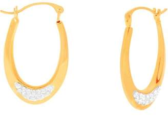 1913 Steel Lesa Michele Genuine Cubic Zirconia Oval Hoop Earrings in Gold over Sterling Silver
