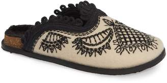 Free People Walden Embroidereed Mule with Faux Fur Lining