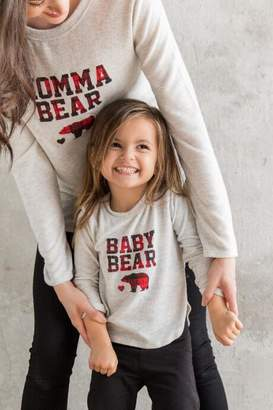 francesca's Momma Bear Plaid Graphic Tee - Heather Gray