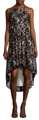 Aidan Mattox Halterneck Floral Lace Dress