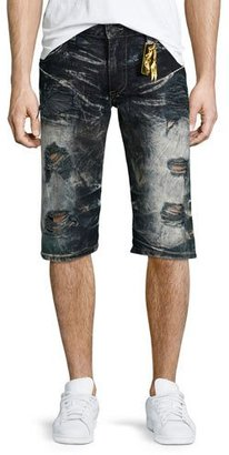 Robin's Jeans Distressed Slim-Fit Faded Denim Shorts, Black $395 thestylecure.com