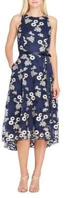 Tahari Arthur S. Levine Hi-Lo Floral-Embroidered Midi Dress