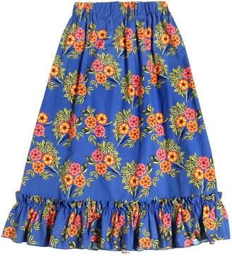 MSGM Floral Printed Cotton Poplin Long Skirt