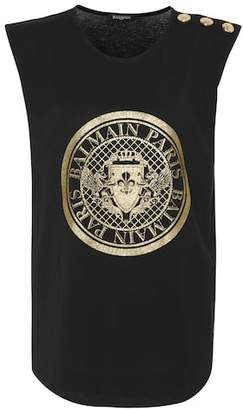 Balmain Glitter logo cotton T-shirt