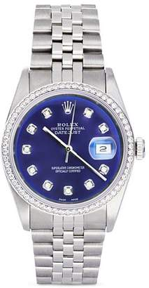 Moncler Pre-Owned Rolex Stainless Steel and 18K White Gold Datejust Watch with Blue Dial and Diamond Bezel, 36mm