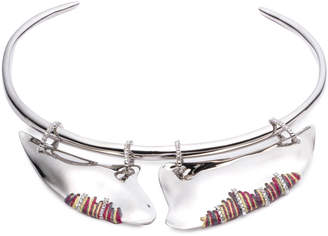 Alexis Bittar Liquid Rhodium With Stitched Edges Accent Plate Collar Necklace