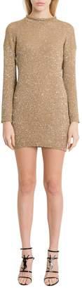 Saint Laurent Golden Lurex Knit Minidress With Sequins