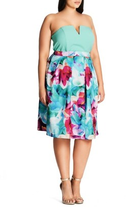 Plus Size Women's City Chic Lily Floral Pleated Skirt $79 thestylecure.com