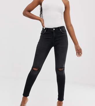 NA-KD Na Kd mid rise distressed skinny jeans in dark grey