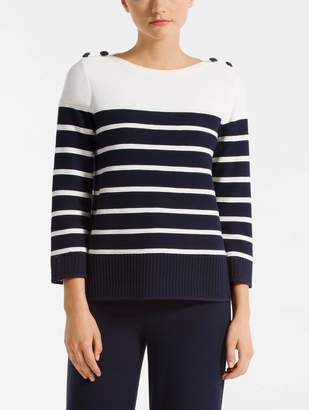 St. John Technical Birdseye Mesh Knit Color Block Sweater