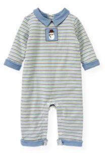Janie and Jack Snowman Stripe Padded One-Piece