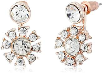 Betsey Johnson Crystal Flower Rose Gold Front and Back Earrings Ear Cuffs