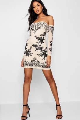 boohoo Boutique Embellished Off Shoulder Dress