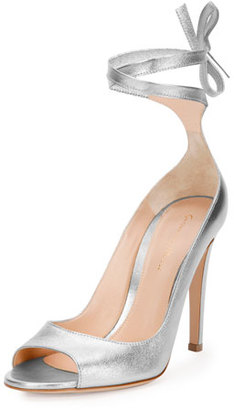 Gianvito Rossi Metallic Leather Ankle-Wrap Pump, Silver $925 thestylecure.com