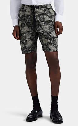 Officine Generale Men's Mosaic-Print Basket-Weave Drawstring Shorts - Black