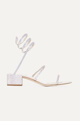 Rene Caovilla Crystal-embellished Satin And Leather Sandals - White