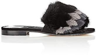Manolo Blahnik Women's Pelosusmin Slide Sandals - Black Suede