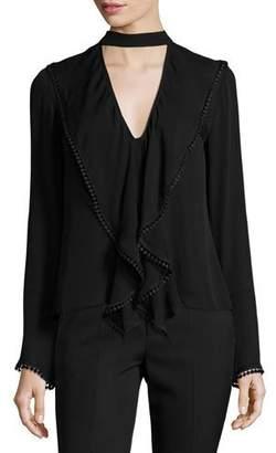 Nicholas Frill Lace-Trim Cutout Silk Blouse