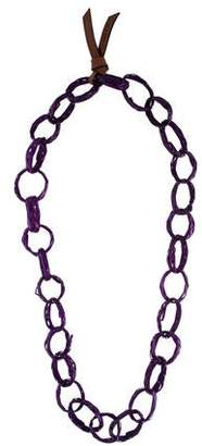 Marni Leather & Wood Chain Necklace