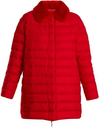 Moncler Gamme Rouge Winnipeg fur-trimmed quilted-down cashmere coat