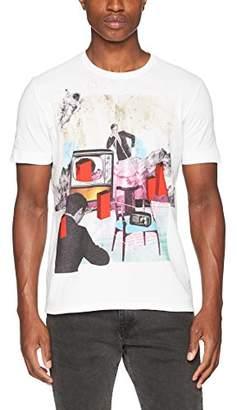 Sisley Men's Print T-Shirt, White (White W/Print 101)