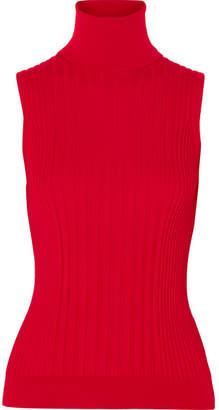 Maison Margiela Ribbed Wool Turtleneck Top - Red