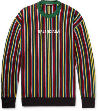 Balenciaga Oversized Distressed Logo-Intarsia Virgin Wool-Blend Sweater - Multi