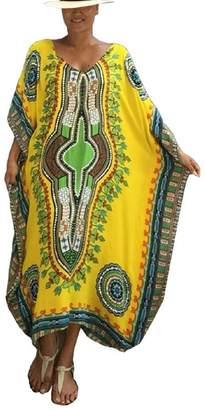 Bsubseach Women Loose Colorblock Beach Dress Half Sleeve Long Kaftan Swimsuit Cover Up