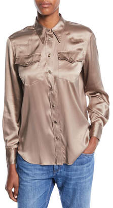 Brunello Cucinelli Long-Sleeve Button-Front Silk Charmeuse Blouse w/ Monili Trim