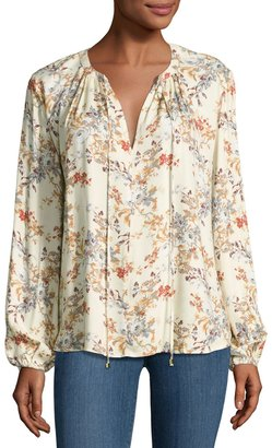 WAYF Townsend Floral-Print Blouse, Beige $39 thestylecure.com
