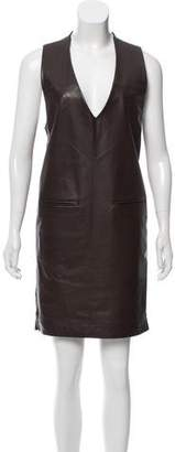 Maison Margiela Leather-Trimmed Shift Dress