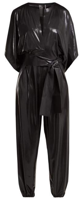 Belted Lame Jumpsuit - Womens - Black