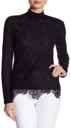 d9e268e6aa0 Gracia Flower Lace Mesh Sleeve Top
