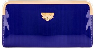 Vangoddy Women's Blue Striped Patent Leather Wallet With Card Holder Organizers and Convertible Golden Chain Wristlet