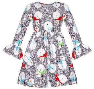 Mia Belle Girls Snowman Print Long Bell Sleeve Dress (Toddler & Little Girls)