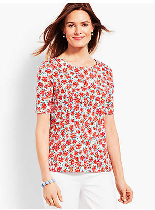 Talbots Scalloped-Edge Tee - Ditzy Clusters