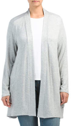 Plus Mid Length Cardigan With Pockets