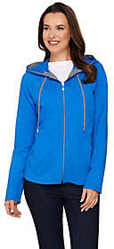 Susan Graver Weekend French Terry Hooded Jacketw/Seaming Detai