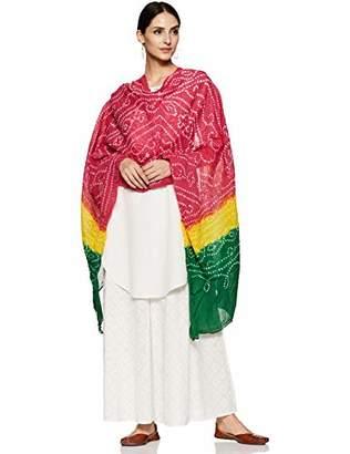 Habiller Women's Chiffon Multi-Color Bandhani/Bandhej Long Wedding Mirror Work Fashion Scarves Shawls and Wraps Party Scarf-DUPT514
