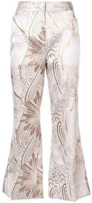 Josie Natori jacquard kick-flare trousers
