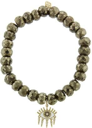 Sydney Evan Small Kaleidoscope Eye Fringe Charm on Champagne Pyrite Beaded Bracelet