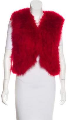 Adrienne Landau Feather V-Neck Vest