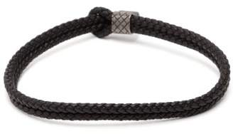 Bottega Veneta Double Intrecciato Leather Bracelet - Mens - Black