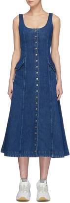Acne Studios Scoop neck button front sleeveless denim dress