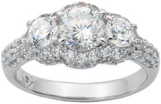 JCPenney FINE JEWELRY 100 Facets by DiamonArt Sterling Silver 3-Stone Cubic Zirconia Cocktail Ring