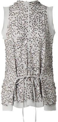 Chloé Draped Sequined Silk-crepe Blouse - Gray