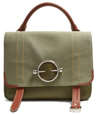 J.W.Anderson Disc Leather And Canvas Satchel Bag - Womens - Khaki Multi
