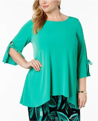 Alfani Plus Size Split-Cuff High-Low Tunic, Created for Macy's