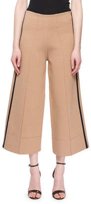 Victoria Beckham Victoria Pull-On Flared Crop Leg Pants w/ Tux Stripe